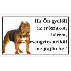Kutyatábla | Amerikai Pitbull | 25x15 cm