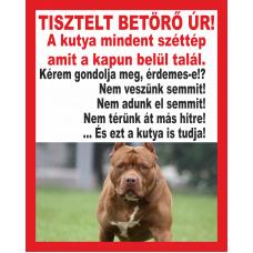 Kutyatábla | Amerikai Pitbull 3 | 10x12,5 cm