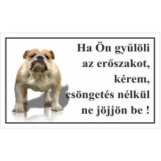 Kutyatábla | Angol Bulldog | 25x15 cm