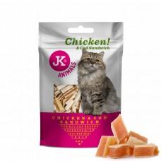 JK Animals | Cica Jutalomfalat | Csirke és Tőkehal szendvics | 50g